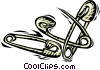 Vector Clip Art graphic  of a safety pins