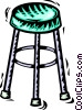 Vector Clip Art graphic  of a Bar Stools and Benches