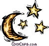 Vector Clipart picture  of a moon and stars