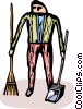 Vector Clip Art image  of a custodian