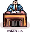 businessman working at a desk Vector Clip Art graphic