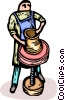 Vector Clip Art graphic  of a Potter making vase