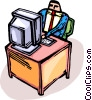 Vector Clipart graphic  of a businessman sitting at a desk