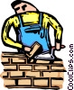 Mason building a brick wall Vector Clipart illustration