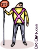 Vector Clip Art graphic  of a crossing guard