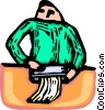 Vector Clip Art picture  of a person shredding documents