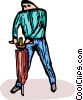 Vector Clip Art graphic  of a Person operating a jackhammer