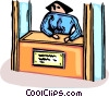 Vector Clipart graphic  of a woman at an information booth