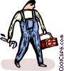 Vector Clip Art graphic  of a plumber
