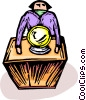 Person with a crystal ball Vector Clipart picture