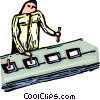 Vector Clip Art image  of a Person working on the assembly