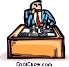 businessman playing chess Vector Clip Art graphic