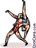 Vector Clipart image  of a wrestlers
