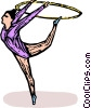 Gymnast performing the floor routine Vector Clipart picture