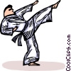 Vector Clip Art picture  of a Martial artist kicking