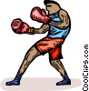 Boxer sparring Vector Clip Art graphic