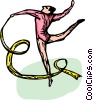Vector Clipart image  of a Gymnast performing the floor