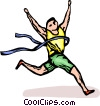 Runner winning a race Vector Clip Art picture