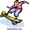 Vector Clip Art graphic  of a skateboarder