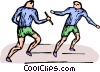 relay runners Vector Clipart illustration