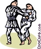 Martial artists sparring Vector Clip Art image