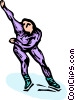 speed skater Vector Clip Art graphic