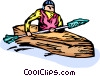 Vector Clip Art graphic  of a kayaker