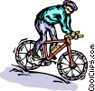 Vector Clipart graphic  of a Cyclist riding hard