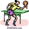 Vector Clip Art image  of a ping pong player