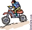 Vector Clip Art image  of a motorcyclist