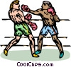 Vector Clip Art graphic  of a Boxers sparring
