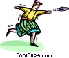 Vector Clip Art image  of a boy throwing a flying disc