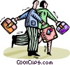 couple with suitcases Vector Clip Art image