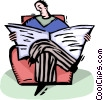 Vector Clip Art image  of a man reading the newspaper