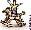 Vector Clipart image  of a child on a rocking horse