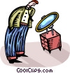 Vector Clip Art image  of a man looking in a mirror