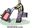man with luggage on a dolly Vector Clipart illustration