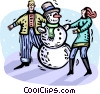 Vector Clip Art graphic  of a couple building a snowman