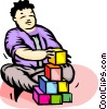 child with building blocks Vector Clipart illustration