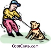 Vector Clip Art image  of a Boy and his dog