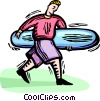 Vector Clip Art picture  of a Surfer with board