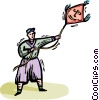 Vector Clipart picture  of a boy flying a kite