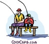 Father and son fishing from dock Vector Clip Art graphic
