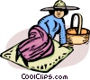 person lying on a blanket after a picnic Vector Clip Art graphic