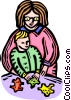 Vector Clipart graphic  of a Mother and child