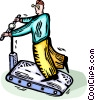 Person on the treadmill Vector Clip Art image
