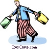 Vector Clip Art image  of a Man with grocery bags