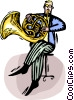 French horn player Vector Clip Art picture