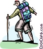 Hiker with backpack Vector Clip Art image