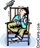 boy sitting in a chair watching a bird Vector Clip Art picture